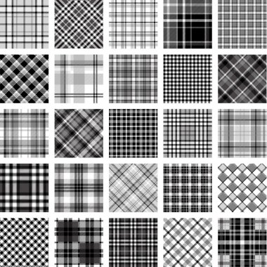 B&W big plaid pattern set