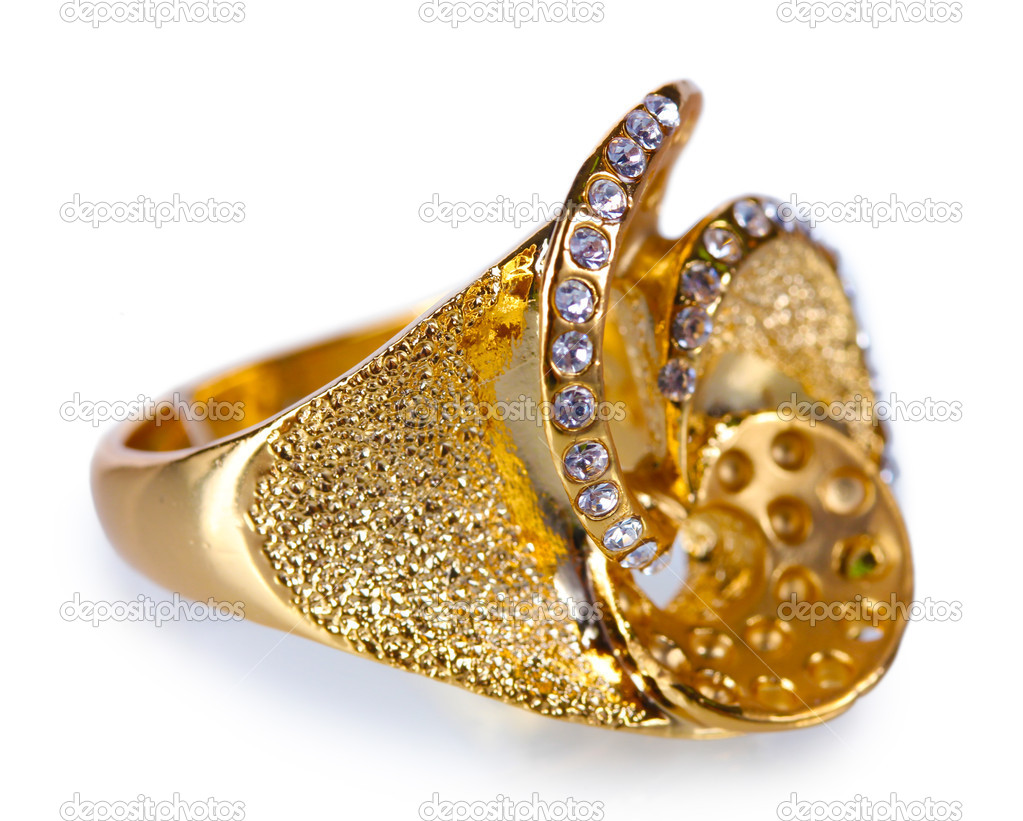 Beautiful gold ring with precious stones isolated on white — Stock ...