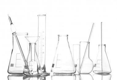 Empty laboratory glassware with reflection isolated on white