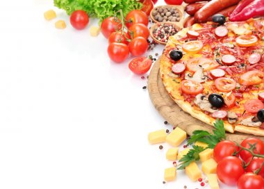Delicious pizza, vegetables and salami isolated on white