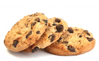 Chocolate chips cookies isolated on white