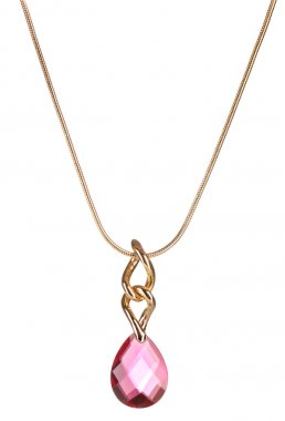 Pendant with pink gem isolated on white
