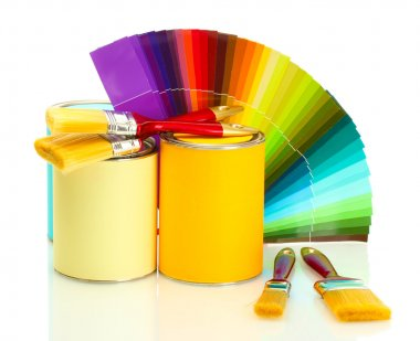 Tin cans with paint, brushes and bright palette of colors isolated on white