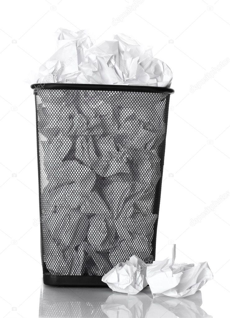 metall papierkorb aus papier isoliert auf weiss stockfoto belchonock 11229062. Black Bedroom Furniture Sets. Home Design Ideas