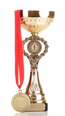 Trophy cup and medal isolated on white