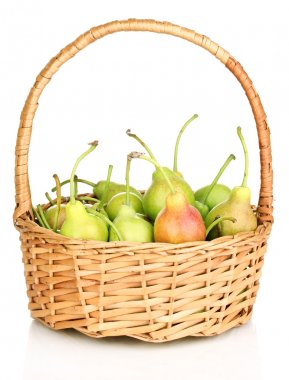 Ripe pears in basket isolated on white