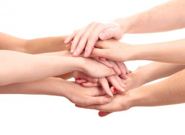 Group of young 's hands isolated on white stock vector