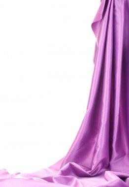 Purple silk drape isolated on white