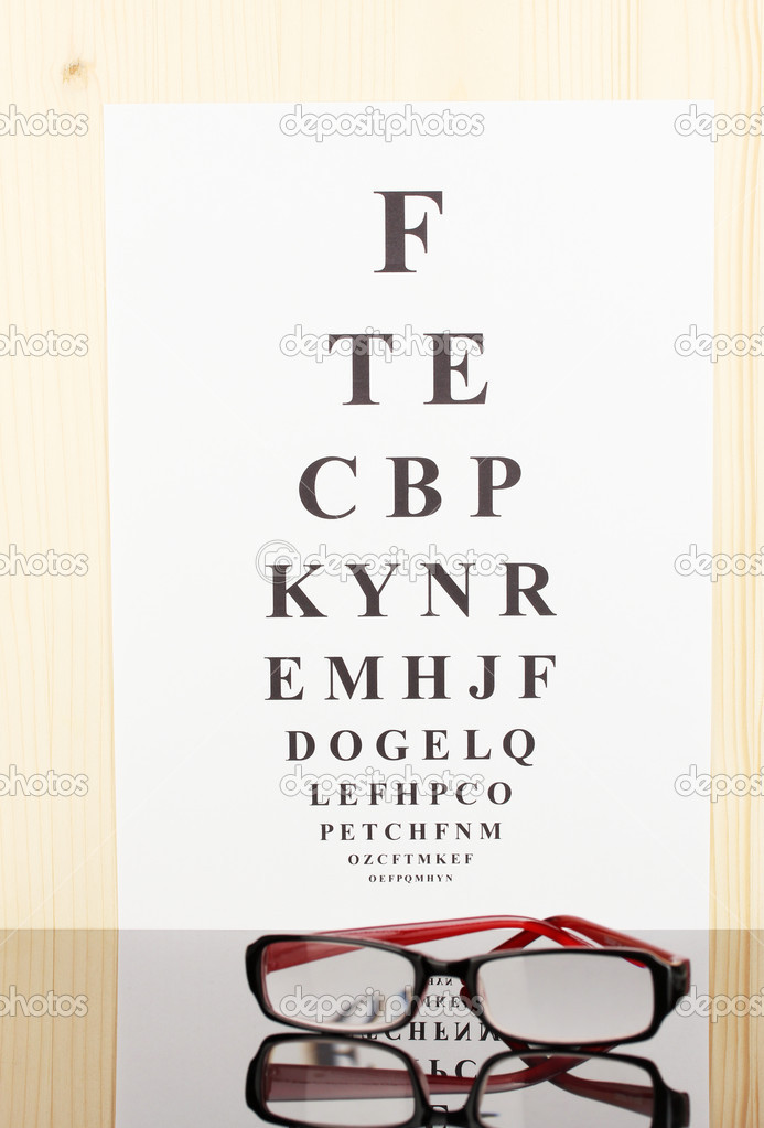 Sehkraft Testform mit Brille Nahaufnahme — Stockfoto © belchonock ...