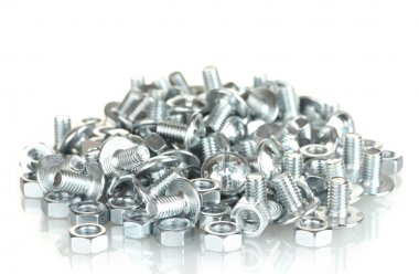 Chrome nuts and bolts on white background close-up