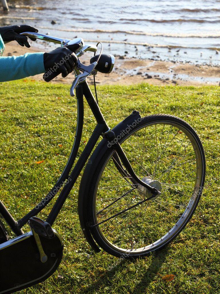 Bicicletta Nera Verde Prato E Acqua Di Mare Foto Stock Lsaloni