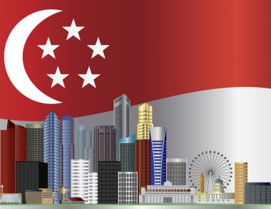 Singapore City Skyline and Flag Illustration