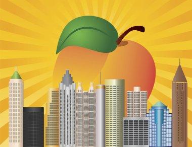 Atlanta Georgia City Skyline with Peach Illustration