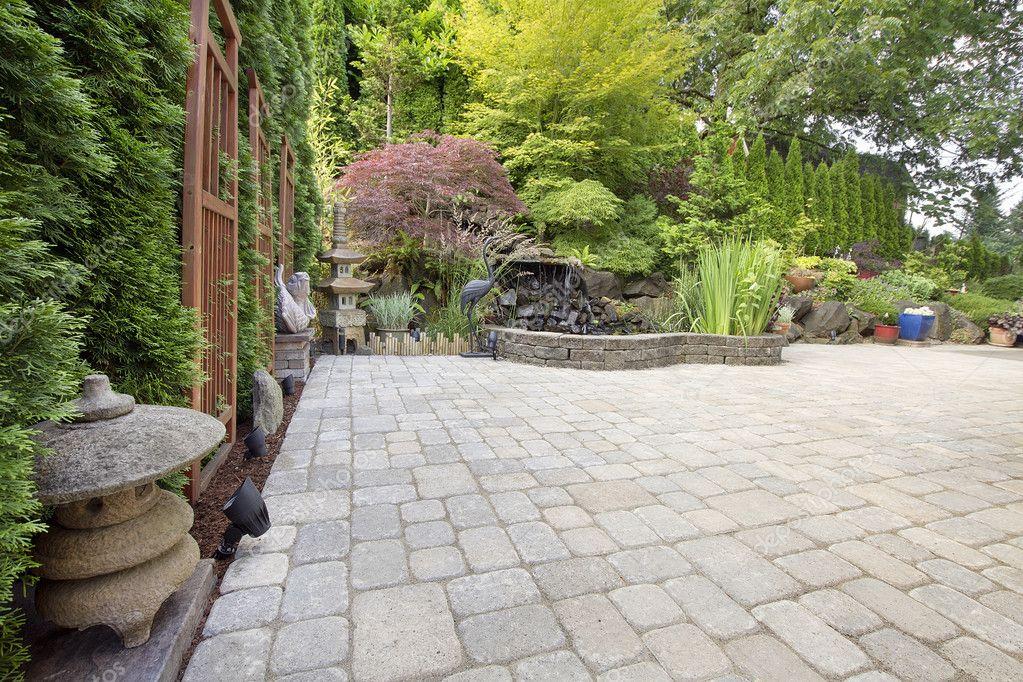 Backyard Asian Inspired Paver Patio Garden