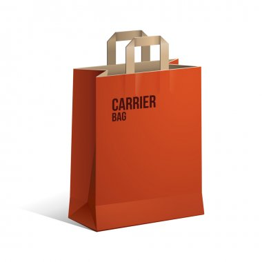 Carrier Paper Recycle Bag Brown And Red Empty