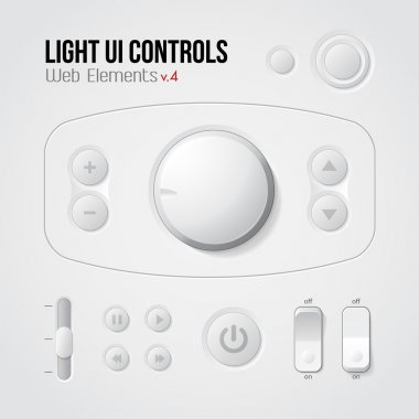 Light UI Controls Web Elements 4: Buttons, Switchers, On, Off, Player, Audio, Video: Play, Stop, Next, Pause, Volume, Equalizer