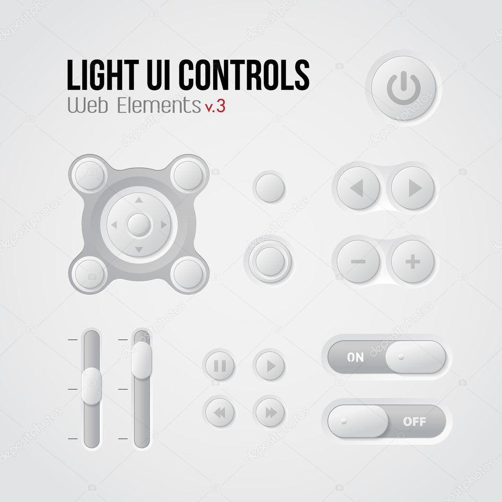 Licht steuert ui Web-Elemente 3: Knöpfe, Schalter, an, aus, Player ...