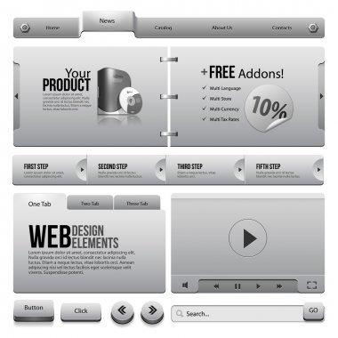 Metal Ribbons Website Design Elements 4: Buttons, Form, Slider, Scroll, Icons, Tab, Menu, Navigation Bar, Box, Video Player, Template, Web
