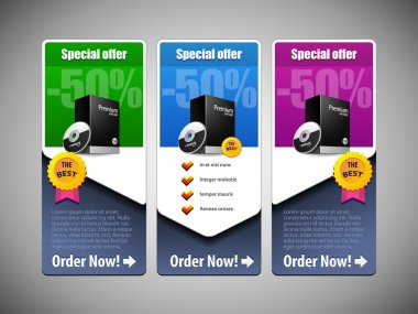 Special Offer Banner Set Vector Colored 21: Blue, Purple, Violet, Green. Showing Products Purchase Button