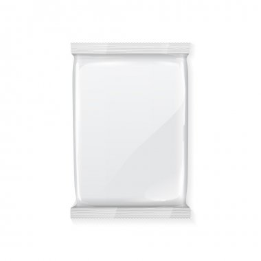 White Blank Foil Packaging Plastic Pack Ready For Your Design: Snack Product Packing