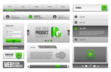 Modern Clean Website Design Elements Grey Green Gray 3: Buttons, Form, Slider, Scroll, Carousel, Icons, Menu, Navigation Bar, Download, Pagination, Video, Player, Tab, Accordion, Search