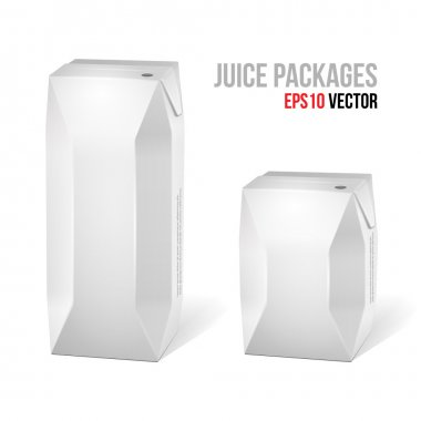 Two Juice Carton Packages Blank White: Vector Version EPS10
