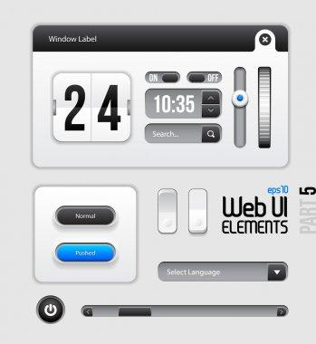 Web UI Elements Design Gray Blue: Part 5 clip art vector