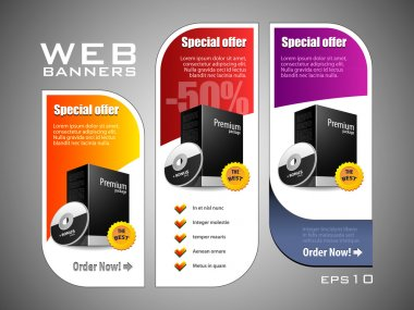 Special Offer Banner Set Vector Colored 11: Yellow, Purple, Violet, Red. Showing Products Purchase Button