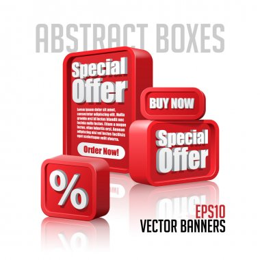 3D Plastic Abstract Banners Set Red: EPS10