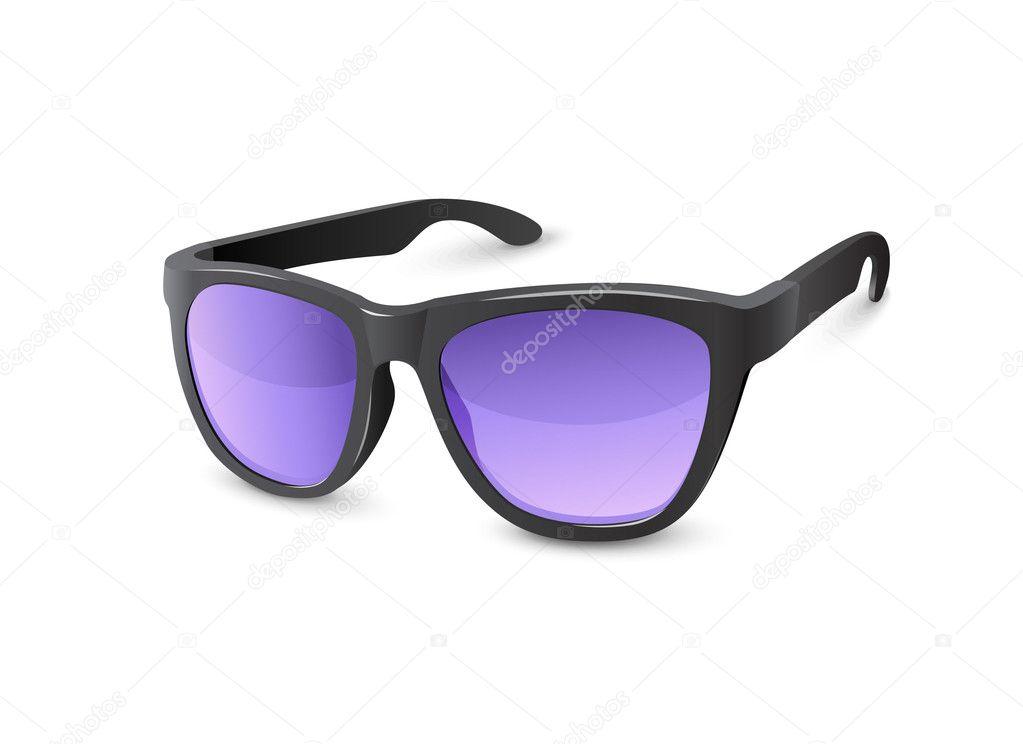 óculos de sol preto elegante com lentes violetas — Vetores de Stock ... a5f2d057d8