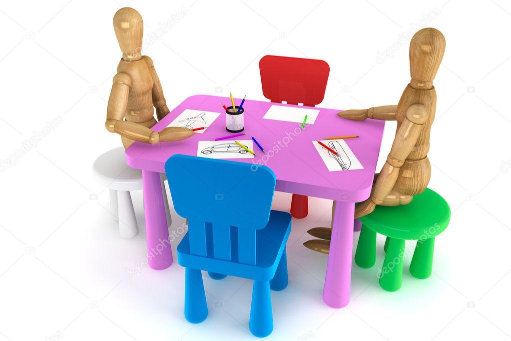 Plastic Stoel Kind : Kleurrijke kunststof kind stoelen en tafel u stockfoto doomu