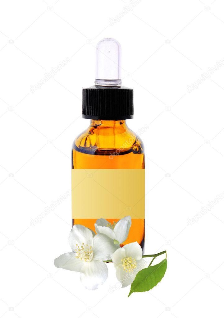 Bottle with essence oil and jasmine flower isolated on white stock bottle with essence oil and jasmine flower isolated on white photo by pukach2012 mightylinksfo