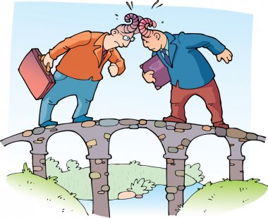 Two businessman are butting each other with the horns on the narrow bridge. stock vector