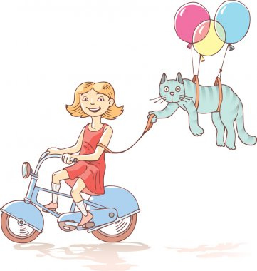 Cycling girl with the cat