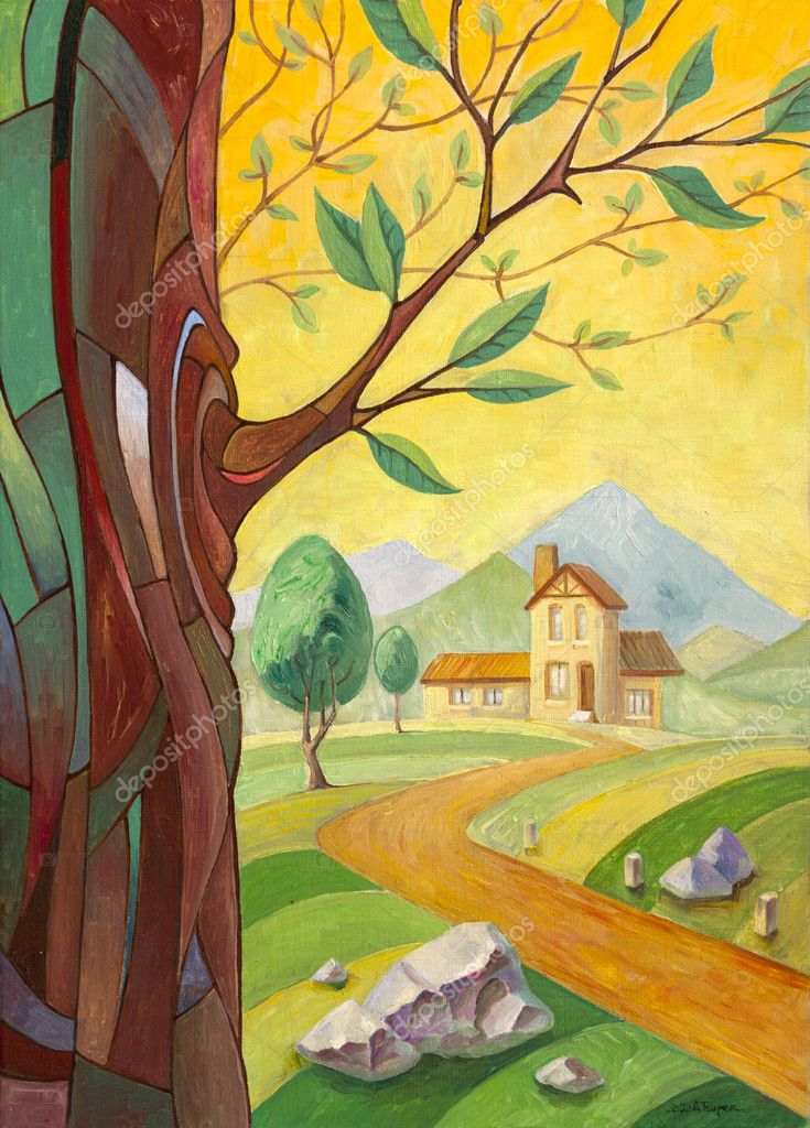 Tree and the Building in the countryside