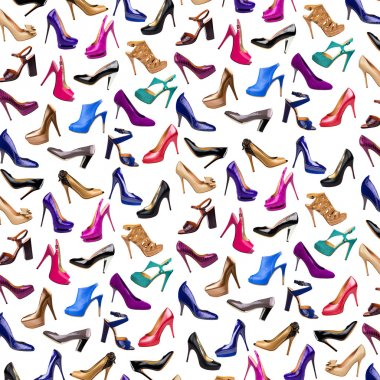 Multicolored female shoes background-3