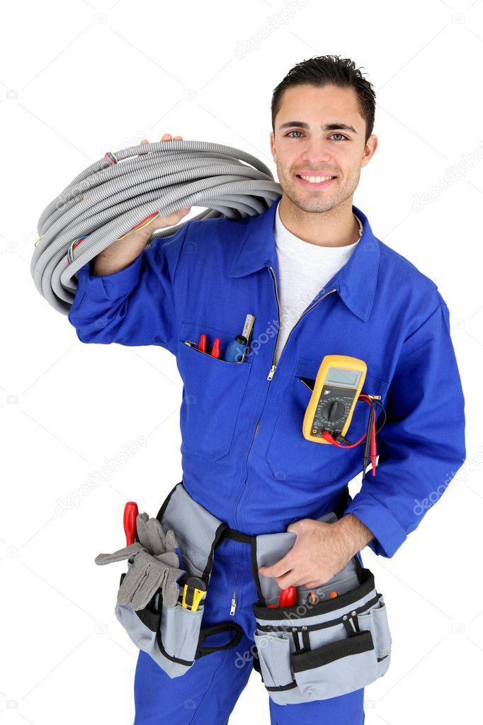 Elektriker Stand mit Verkabelung — Stockfoto © photography33 #10854495