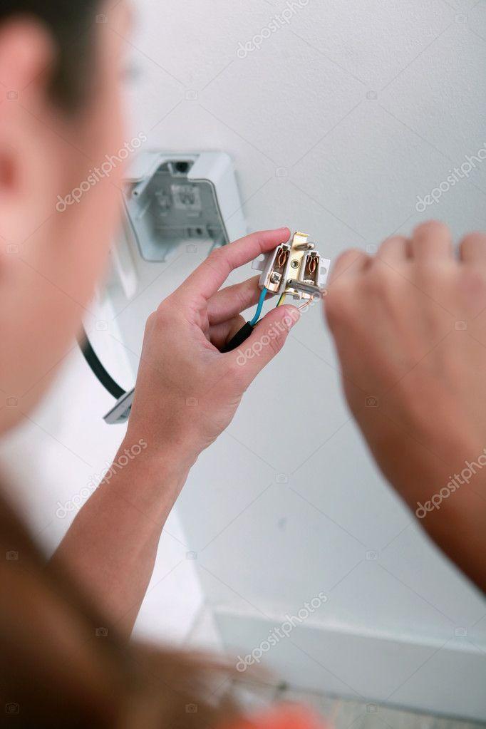 Elektriker eine Steckdose Schaltplan — Stockfoto © photography33 ...