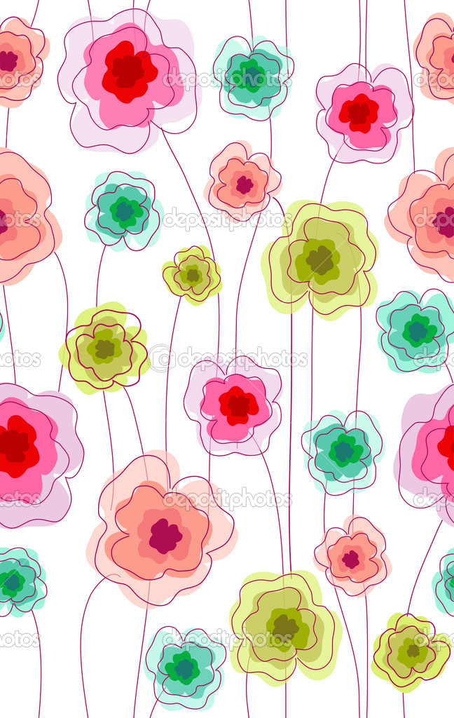 Seamless doodle stick floral pattern.