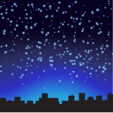 City at night. The starry sky.
