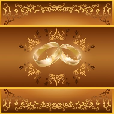 Wedding greeting or invitation card with rings