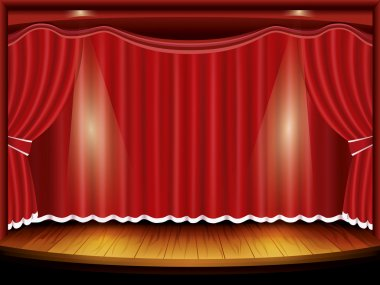 Theater stage with red curtain and spotlight, vector