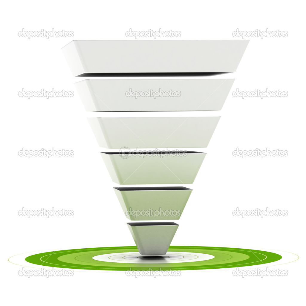 Sales funnel or marketing funnel stock photo olivier26 11044546 sales funnel with six stages easily customizable pointing to a green target can be used as a marketing funnel diagram over white background photo by pooptronica Images