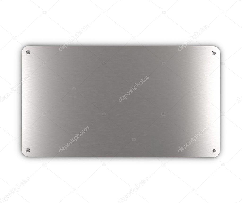Brushed metal plaque with screws