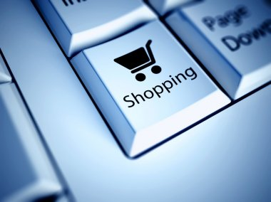 Keyboard and Shopping button, internet concept