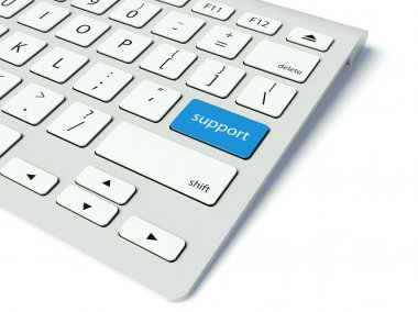 Keyboard and blue Support button, business concept