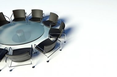 Conference table and chairs, meeting room on white background