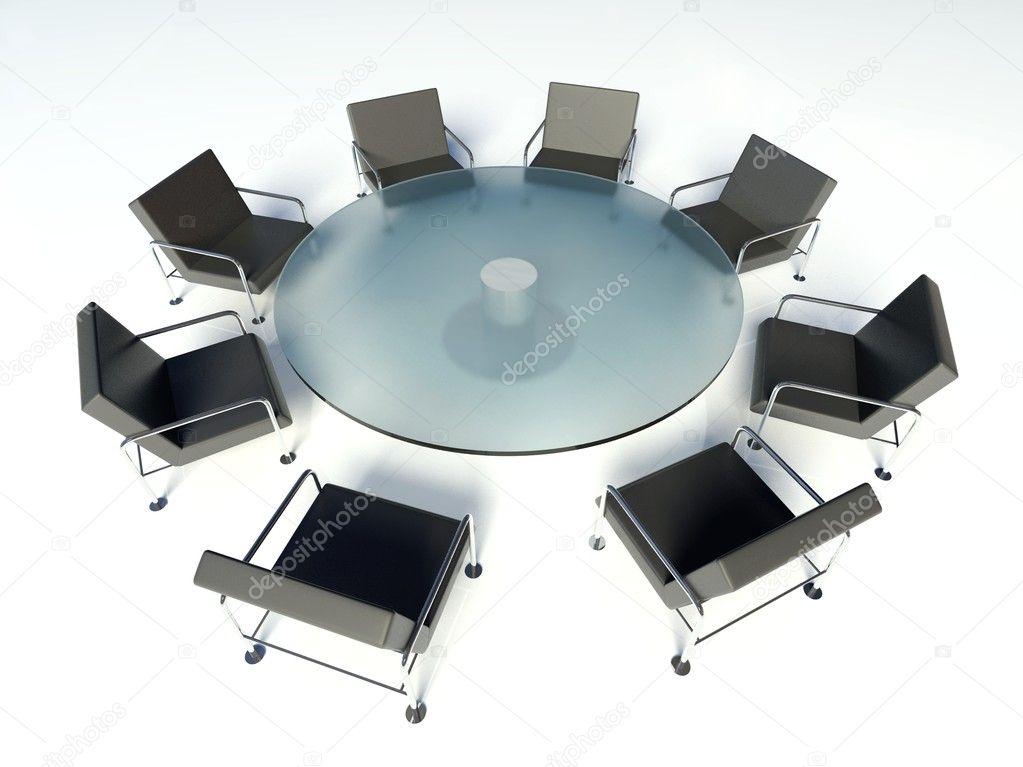 Tavolo riunioni e sedie sala riunioni su sfondo bianco u foto