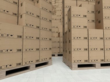 Cardboard boxes on wooden pallets, inside the warehouse