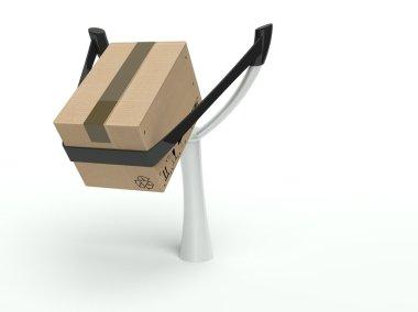 Metaphor for express delivery, cardboard box on a slingshot